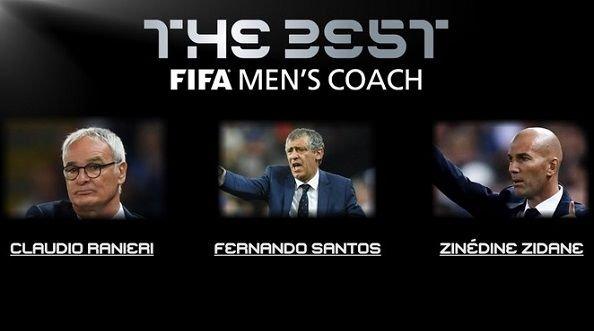Зидан, Сантуш и Раньери претендуют на звание лучшего тренера года